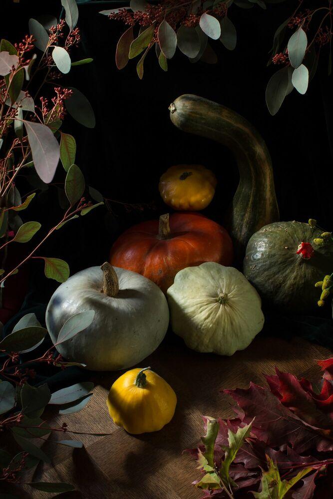 Fotografie SYMPHONIE DES COURGES - RENARDS GOURMETS - Bildermalerei
