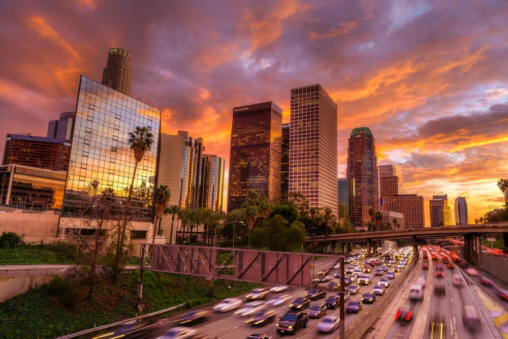 Photographie DOWNTOWN LOS ANGELES BURNING SUNSET - SERGE RAMELLI - Tableau photo
