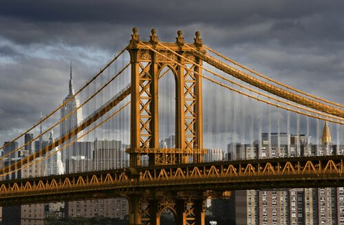 New York Orange Manhattan Bridge - CHRISTOPHE MORIN - Kunstfoto