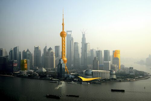 SHANGHAÏ ORANGE SKYLINE - CHRISTOPHE MORIN - Kunstfoto