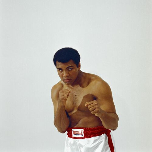 LOWELL RILEY MUHAMMAD ALI SHOWING HIS FISTS DOMINANT WHITE -  DE LA FUENTE COLLECTION - Fotografie