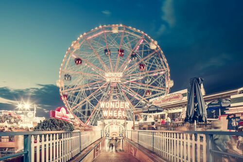 Wonder Wheel By Night Coney Island NY - FRANCK BOHBOT STUDIO - Photograph