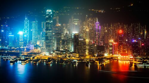 HONG KONG NIGHT SKYLINE I
