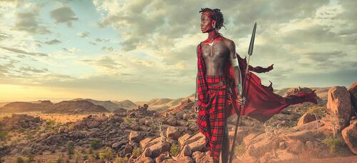 Maasai - African Sunrise - LEE HOWELL - Kunstfoto