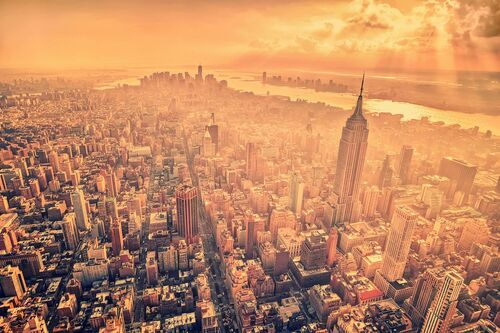 A birds eye view across manhattan