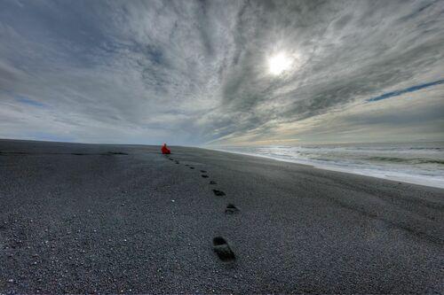 ISLANDE PLAGE DE SABLE NOIR AU NORD DE VIK - MATTHIEU RICARD - Fotografía