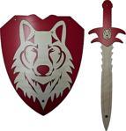 Ahtek Ahşap Kurt Başlı Kılıç Ve Kalkan Seti - Kırmızı