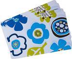 Amerikan Servis Seti,Mavi Çiçek Desenli Pvc