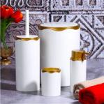 Azra 4 Parça Akrilik Beyaz Mat Altın Banyo Seti