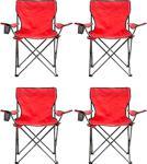 Bayeren 4'Li Çantalı Katlanır Kamp Sandalyesi Kırmızı