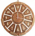 Fantastik Hasır Örgülü Özel Tasarım Ahşap Saat 45 Cm