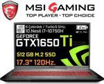 """MSI GF75 Thin 10SCSR-091XTR i7-10750H 8 GB 512 GB SSD GTX1650TI 17.3"""" Full HD Notebook"""