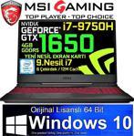 """MSI GL65 9SC-042TR i7-9750H 8 GB 256 GB SSD GTX1650 15.6"""" Full HD Notebook"""