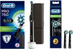 Oral-B Pro 750 Siyah Power Siyah + 2'li Yedek Başlık Şarjlı Diş Fırçası Diş Fırçası