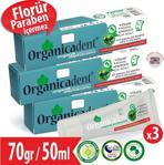 Organicadent Florürsüz Organik Diş Macunu 50 ml 3'lü Aile Paketi