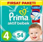 Prima Aktif Bebek 4 Numara Maxi 54'lü Fırsat Paketi Bebek Bezi