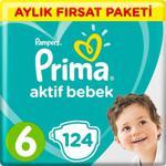 Prima Aktif Bebek 6 Numara Extra Large 124 Adet Aylık Fırsat Paketi Bebek Bezi