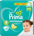 Prima Aktif Bebek 8 Numara XXX Large 31'li Fırsat Paketi Bebek Bezi