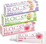 Rocs Baby 0-3 Yaş Diş Macunu 3Lü Karma Set Ihlamur-Papatya-Elma Püresi - 45Gr X 3 Adet
