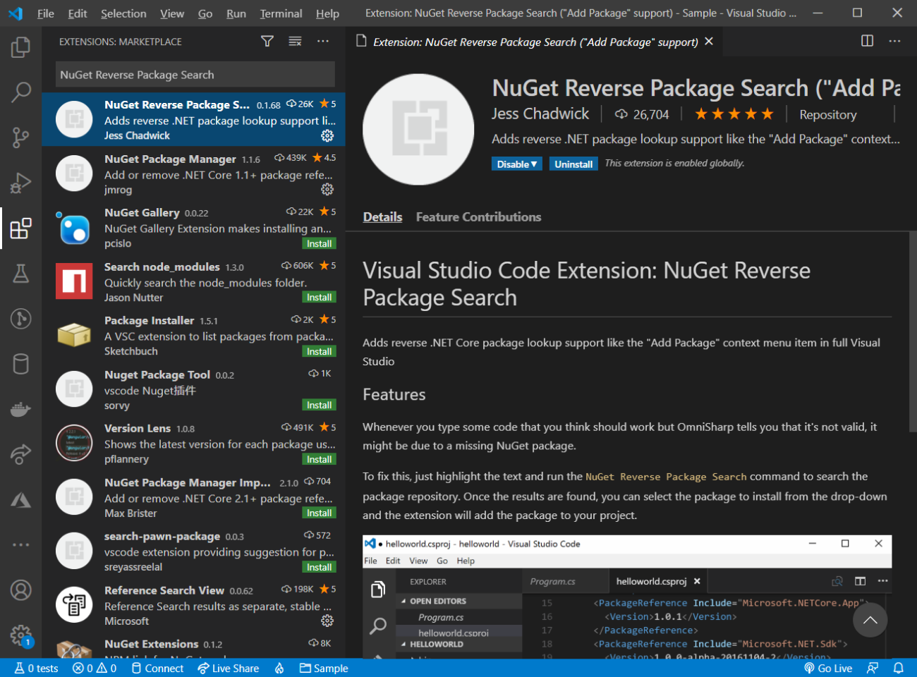 NuGet Reverse Package Search