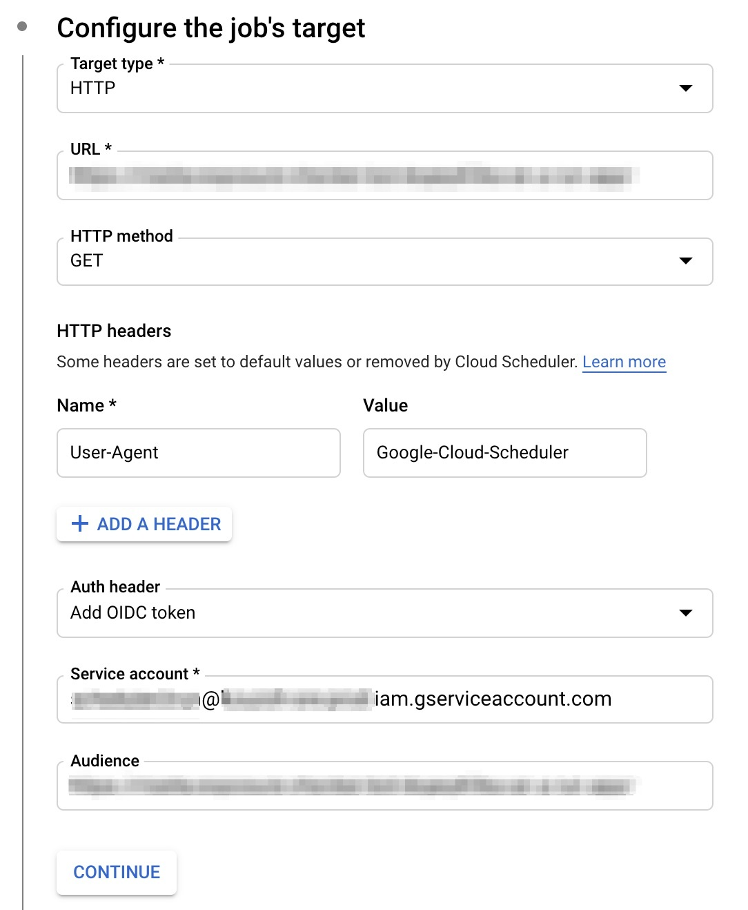 Cloud Scheduler on Console