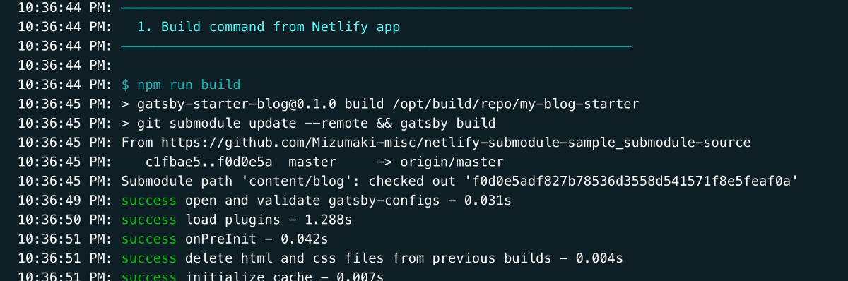 success build with submodule update