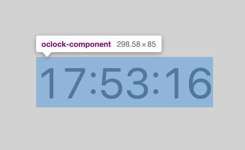 oclock-component という Custom Elements が選択されているスクリーンショット