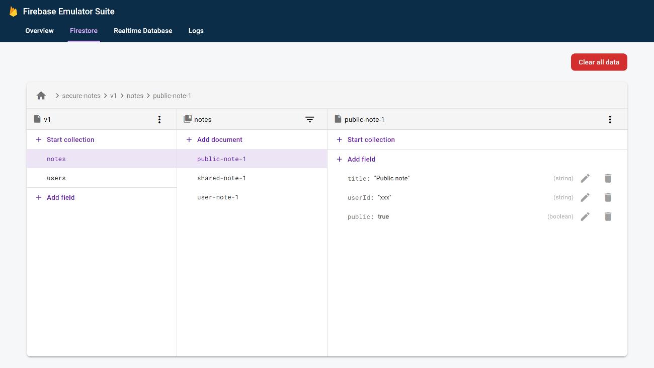 ウェブ UI のスクリーンショット。Firebase ターミナルの Firestore 画面に似ている