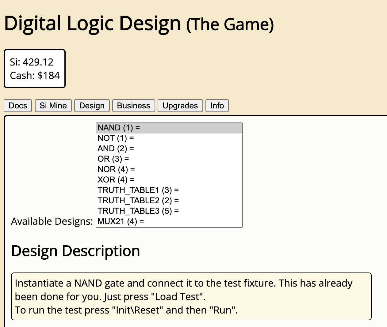 Digital Logic Design (The Game)