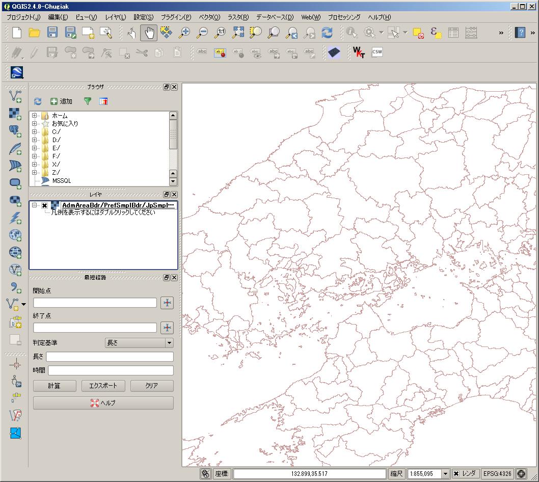 広島県全体が表示される範囲を表示しているところ