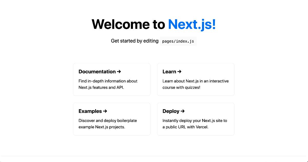 Next.js アプリが表示されることを確認
