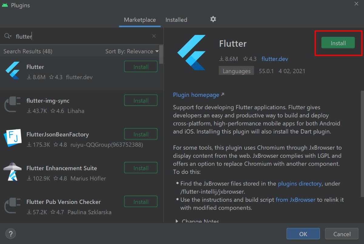 Flutterプラグインをインストールする様子