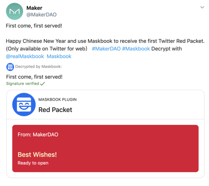 MakerDAO official account sending DAI red packets