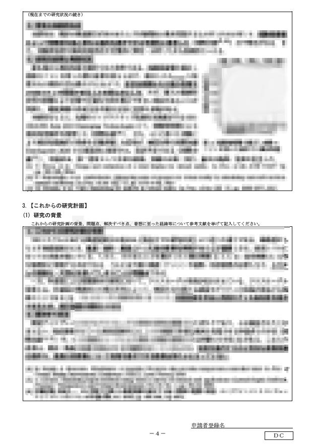 筆者の申請書のとあるページ