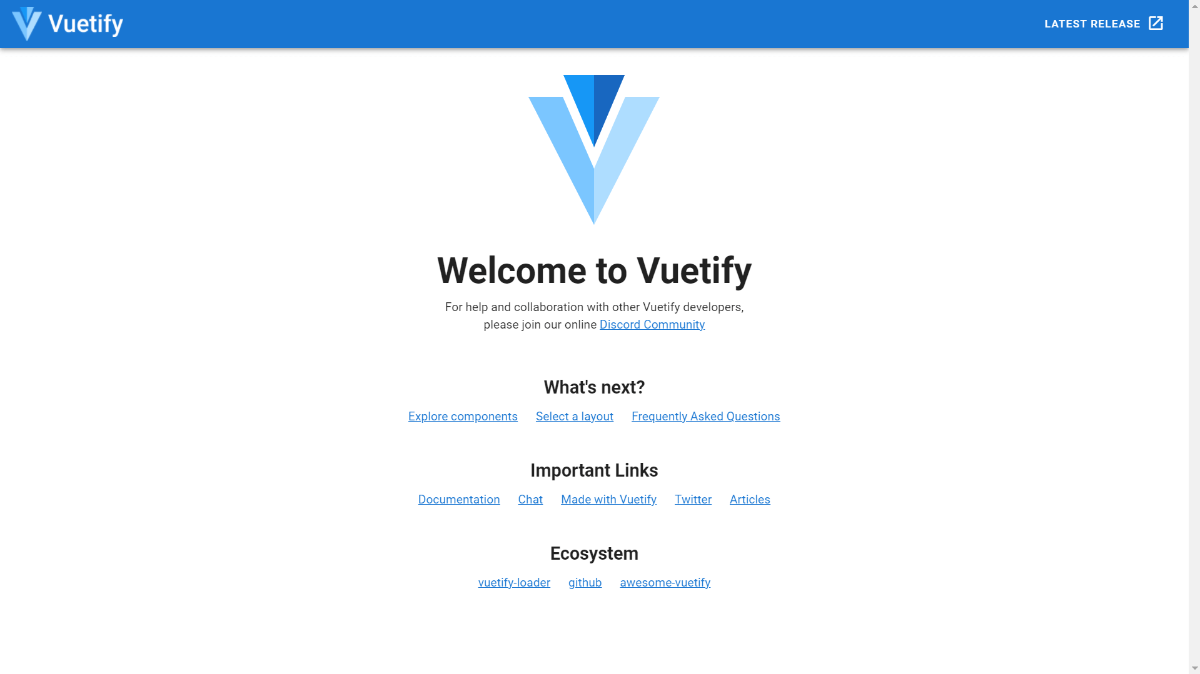 Vuetify Welcom Page