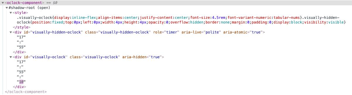 Chrome Dev Tools の Elements タブより oclock-component のタグ内部が開いて閲覧しているスクリーンショット