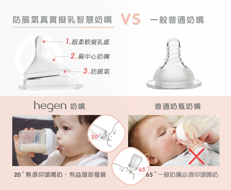 防脹氣真實擬乳智慧奶嘴|快速 (兩入組),hegen,氣真實擬乳智慧奶嘴,快速