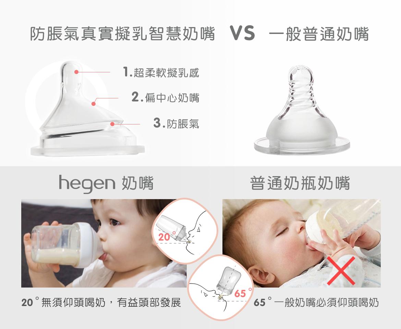 防脹氣真實擬乳智慧奶嘴|Y型 (兩入組) - 適合濃稠副食品,hegen,脹氣真實擬乳智慧奶嘴,Y型