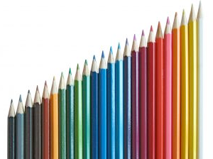 colored pencils resembling a chart for data visualization