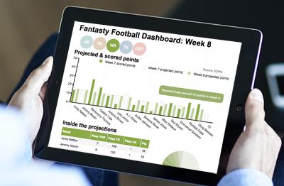 mock up of ZingChart interactive fantasy football data visualization