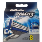 Gillette Mach3 Turbo Cartridges 8 Nos