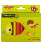 ITC Classmate Colour Crew Wax Crayons-Jumbo 12 Shades 96 mm 1 Pc