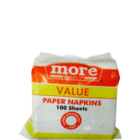 More Quality 1st Value Paper Napkins 1 Ply 30 X 30 cm 100 Sheets