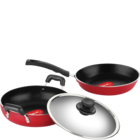 Pigeon 2 Pcs Twin Pack (fry Pan, Kadhai With Stainless Steel Lid) 1 pc